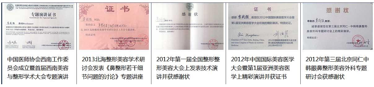 上海美莱李战强教授荣誉证书